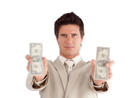 Attractive Businessman holding Dollars  photo