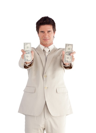 Self-assured Businessman holding Dollars Stock Photo - 10135365