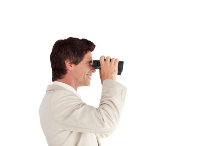 Portrait of a self-assured businessman with binoculars Stock Photo - 10135116