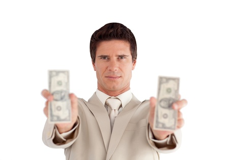 Joyful Businessman with Dollars on his hands photo