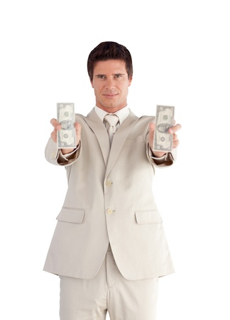 Confident Businessman with Dollars on his hands photo