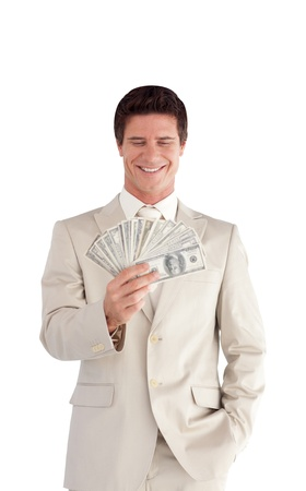 Businessman with Dollars on his hands Stock Photo - 10136347
