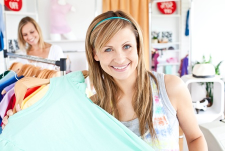 Delighted woman selecting item Stock Photo - 10135648