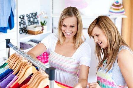 Two Caucasian women are doing shopping  photo