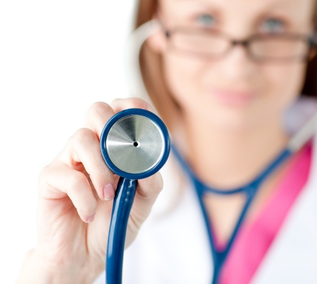 Close-up of a female doctor showing a stethoscope Stock Photo - 10135213