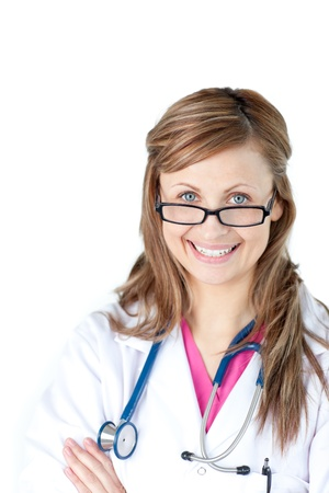 Portrait of a charismatic female doctor with glasses against a white background photo