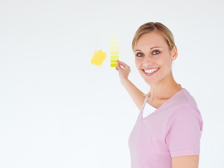 Smiling woman painting a room looking at the camera Stock Photo - 10135102