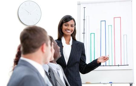 Portrait of a smiling businessman at a presentation photo