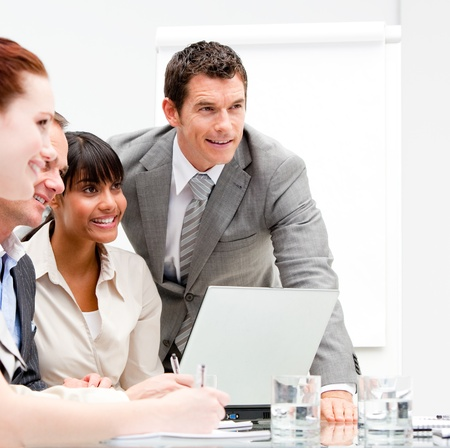 Portrait of anice businesswoman working with her colleagues Stock Photo - 10135155