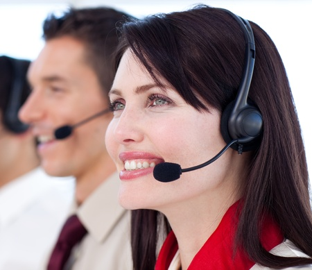 Young customer service agents a call center photo