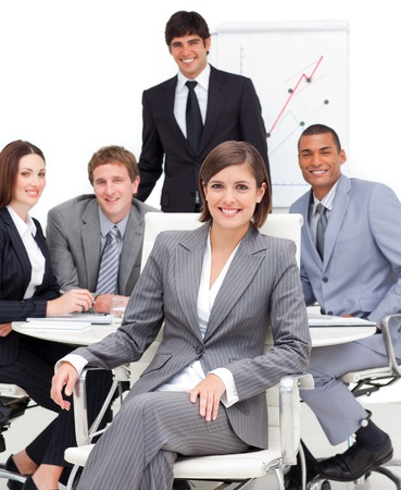 copyspace corporate: Happy business group having a meeting Stock Photo