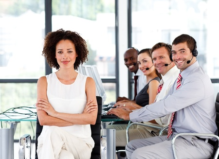 Multi-ethnic business team in a call center Stock Photo - 10136637