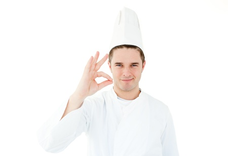 mealtime: Handsome cook giving hand signal