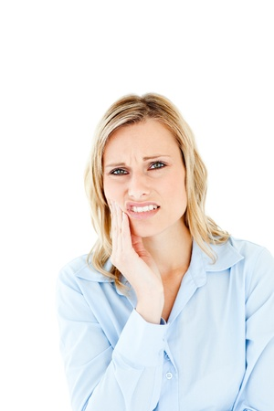 toothache: Dejected businesswoman with toothache Stock Photo
