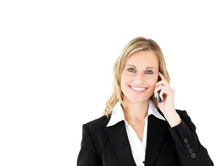 Portrait of a positive businesswoman talking on phone Stock Photo - 10135156