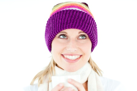 Smiling woman with a colorful hat and a cup in her hands Stock Photo - 10162971