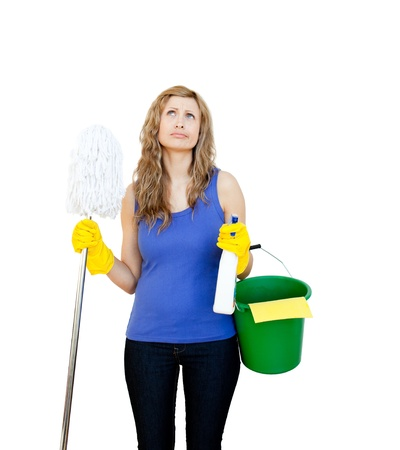 afflict: Portrait of a bright woman doing the housework Stock Photo