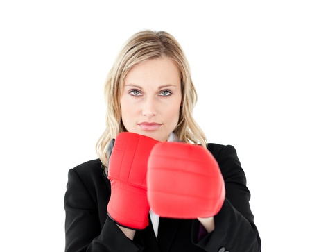 A portrait of a confident businesswoman with boxing gloves Stock Photo - 10135625
