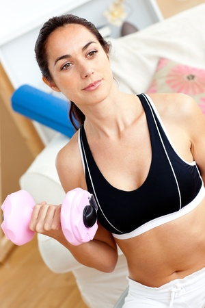 Seus athletic woman holding a dumbbell in her living-room Stock Photo - 10172367