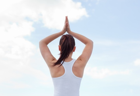 Young attractive woman doing yoga  photo