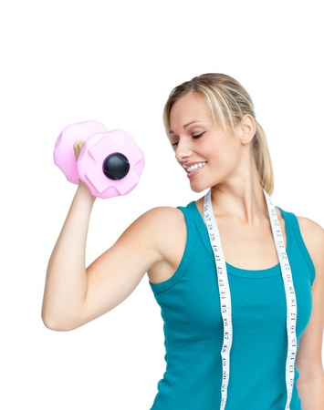 musculation: Woman working out with dumbbells Stock Photo