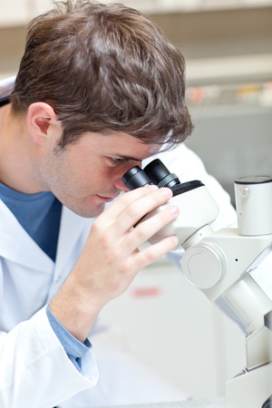 Serious male scientist looking through a microscope Stock Photo - 10171181