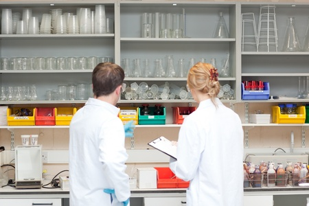 Concentrated scientists thinking photo