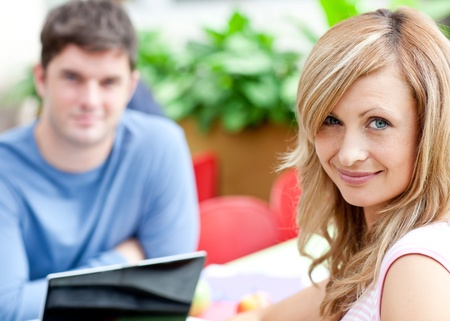 Portrait of two bright students working Stock Photo - 10170732