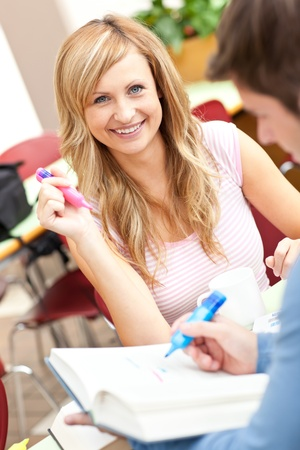 Portrait of smiling students working together Stock Photo - 10164539