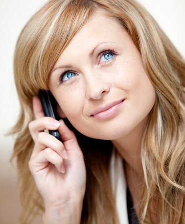 Thoughtful businesswoman talking on phone in her office Stock Photo - 10171858