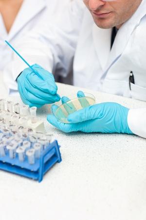 Caucasian male scientist holding samples Stock Photo - 10163742