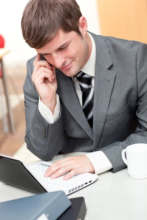 assertive: Assertive businessman talking on phone and using his laptop in his office