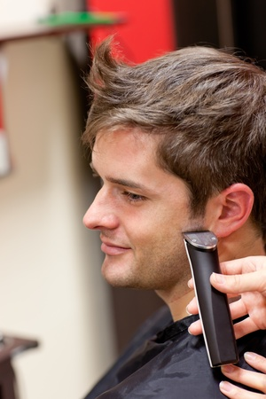 Bright caucasian man being shaved Stock Photo - 10173142