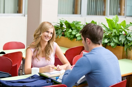 Delighted couple of students working together in the cafeteria Stock Photo - 10173588