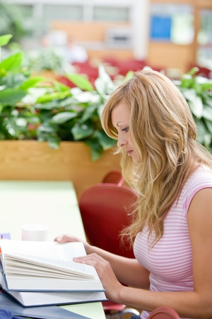 Portrait of a concentrated female student working in the cafeteria Stock Photo - 10174024
