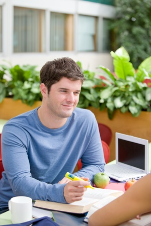 Portrait of a confident student working with his friend in the cafeteria Stock Photo - 10164088