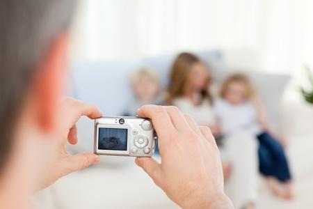 Man taking a photo of his family Stock Photo - 10163992