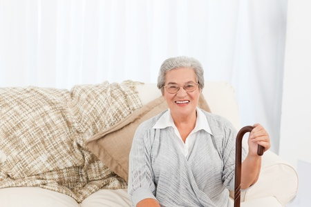 home health nurse: Nurse talking with her patient at home Stock Photo