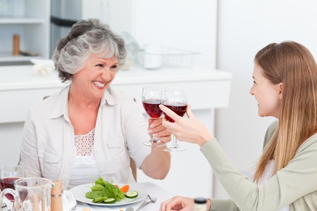 Woman drinking with her mother at home photo
