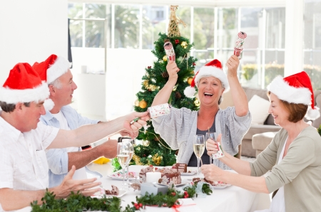 cena de navidad: Personas mayores el d�a de Navidad en casa