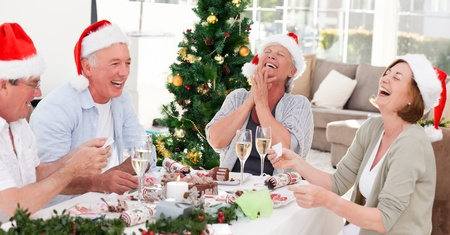 senior friends: Seniors on Christmas day at home
