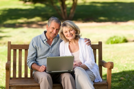 Senior couple working on their laptop Stock Photo - 10171850