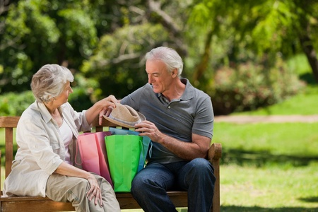 Retired couple with shopping bags Stock Photo - 10173337