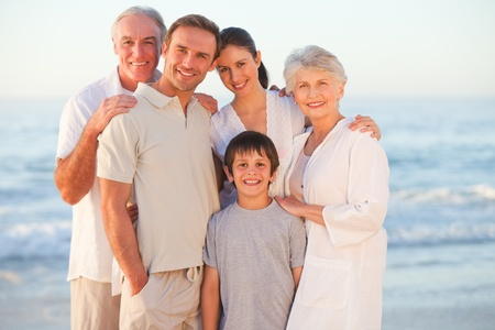 grandchildren: Portrait of a smiling family at the beach