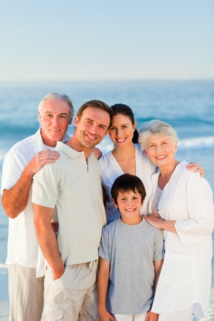 single parent family: Radiant family at the beach