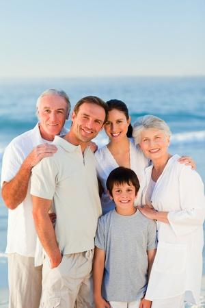 unhappy family: Radiant family at the beach