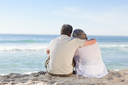 Senior couple looking at the sea Stock Photo