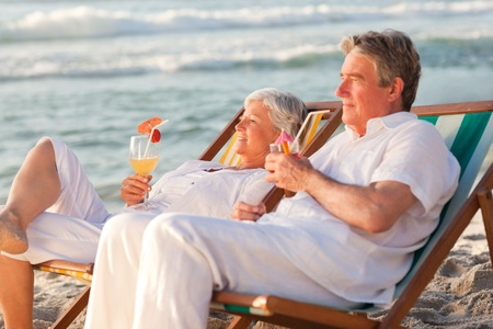 Retired couple drinking a cocktail Stock Photo - 10173170