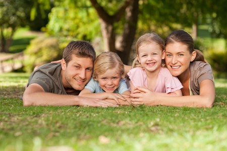 happy family nature: Lovely family in the park