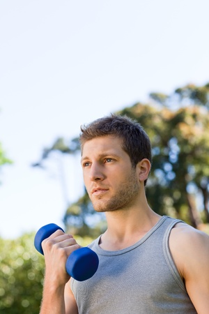 Man doing his exercises in the park Stock Photo - 10184563